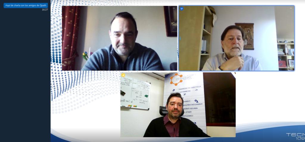 José Luís Hevia, Guido Peterssen y Oskhar Pereira durante su charla por  videoconferencia.