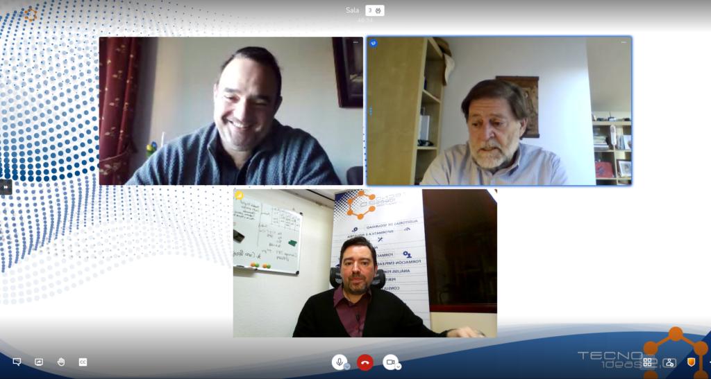 La ciberseguridad en tiempos cuánticos. Arriba a la izquierda, José Luís Hevia. Derecha: Guido Peterssen. Debajo, Oskhar Pereira, CEO de TECNOideas.