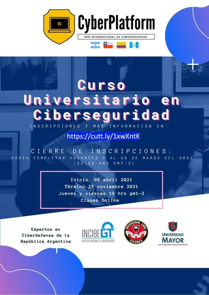 Curso universitario de ciberseguridad ¡gratuito! Organiza la Red Internacional de Ciberseguridad.
