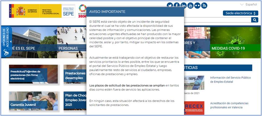 Atacada la web del SEPE.