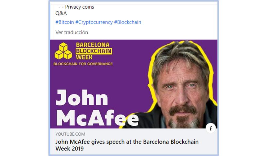 Muere John McAfee en Barcelona. Había participado en la Barcelona Blockchain Week.